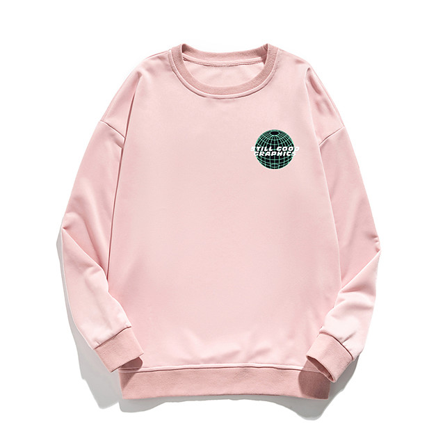 Women's Pullover Sweatshirt Letter Print Daily Other Prints Basic Hoodies Sweatshirts  White Blue Blushing Pink