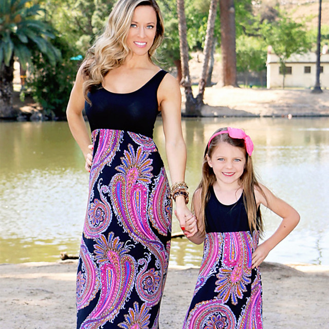Mommy and Me Dress Graphic Print Sleeveless Maxi Black 2-8 Years