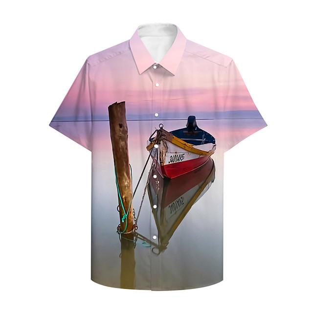 رجالي قميص طباعة ثلاثية الأبعاد الرسم 3D زر أسفل طباعة ثلاثية الأبعاد كم قصير فضفاض قمم كاجوال ستايل هاواي وردي بلاشيهغ