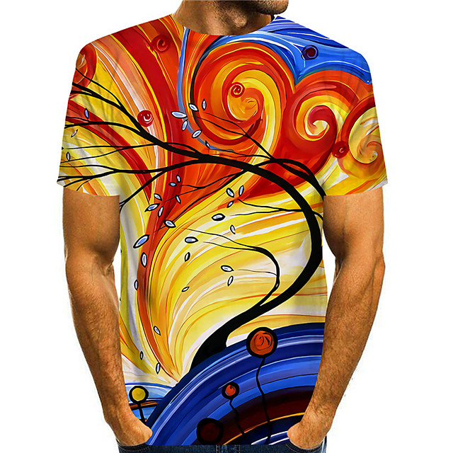 Men's T shirt 3D Print Graphic Graphic Prints 3D Print Short Sleeve Daily Tops Basic Casual Orange