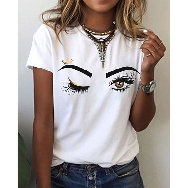 Women's T shirt Graphic 3D Print Round Neck Tops 100% Cotton Basic Basic Top White