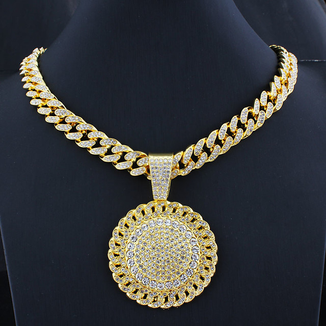 Men's AAA Cubic Zirconia Power Necklace Cuban Link Trendy Alloy Gold Silver 55 cm Necklace Jewelry 1pc For Street
