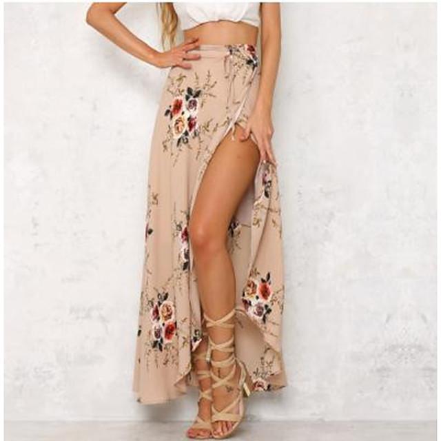 Women's Date Going out Elegant Vintage Skirts Graphic Floral Split Print White Khaki