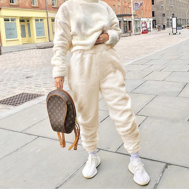 Women's Simple Sweatpants Comfort Casual Daily Jogger Pants Plain Full Length White