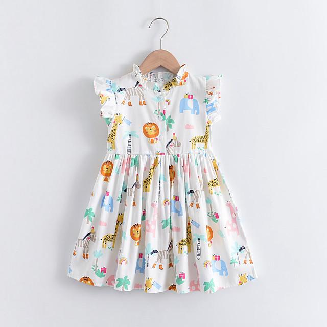 أطفال القليل للفتيات فستان الرسم حيوان طباعة أبيض بدون كم لطيف فساتين عادي