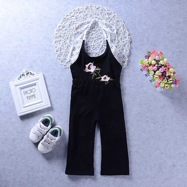 Kids Girls' Overall & Jumpsuit Floral Print Active Black 2-6 Years