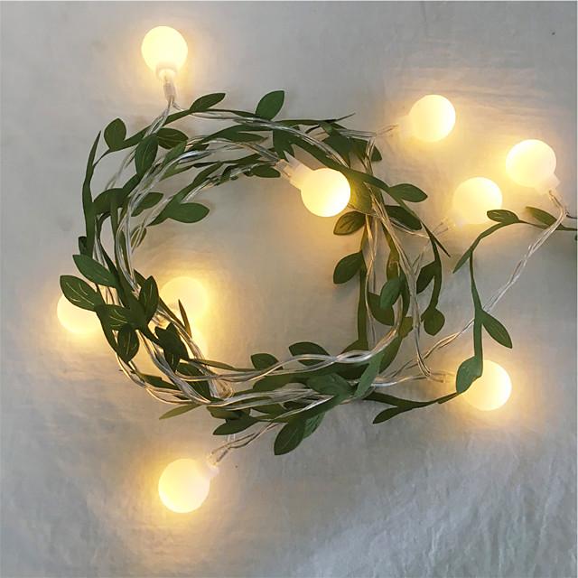 6m 3m minuscule feuille de lierre avec guirlande de billes guirlande lumineuse LED guirlande flexible lumières pour table de mariage décoration de fête à la maison de noël aa batterie puissance