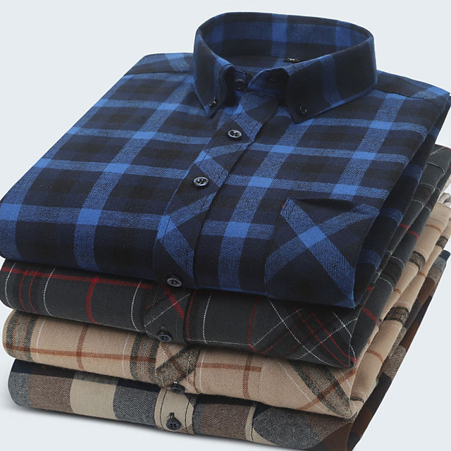 Men's Shirt Plaid Button-Down Long Sleeve Casual Tops Cotton Business Simple A B C