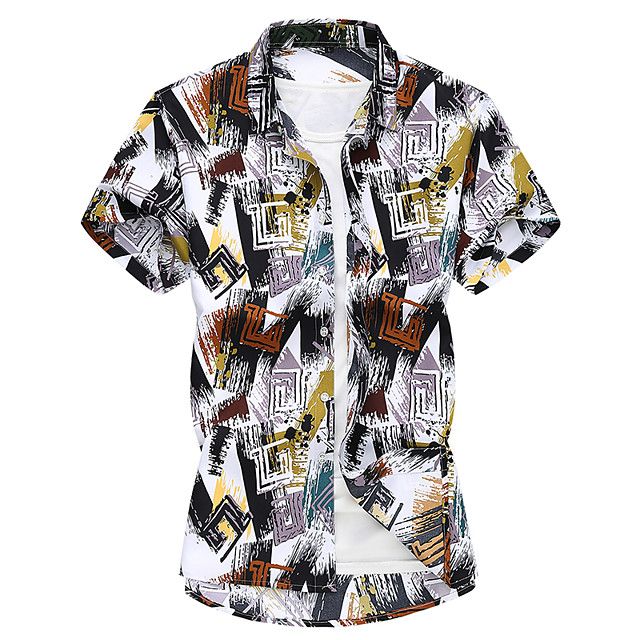 Men's Shirt Other Prints Graphic Short Sleeve Casual Tops Green Brown