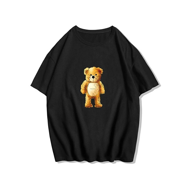 Men's Unisex T shirt Hot Stamping Graphic Prints Toy Bear Plus Size Print Short Sleeve Daily Tops 100% Cotton Basic Fashion Classic Black