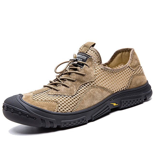 Men's Trainers Athletic Shoes Sporty Daily Outdoor Mesh Breathable Non-slipping Wear Proof Khaki Gray Spring Summer