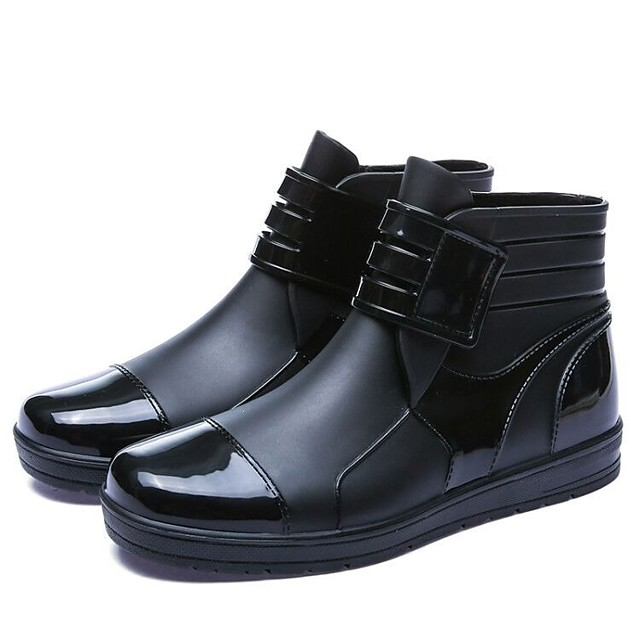 Men's Rain Boots Casual Daily Outdoor Walking Shoes Cowhide Breathable Non-slipping Black Summer