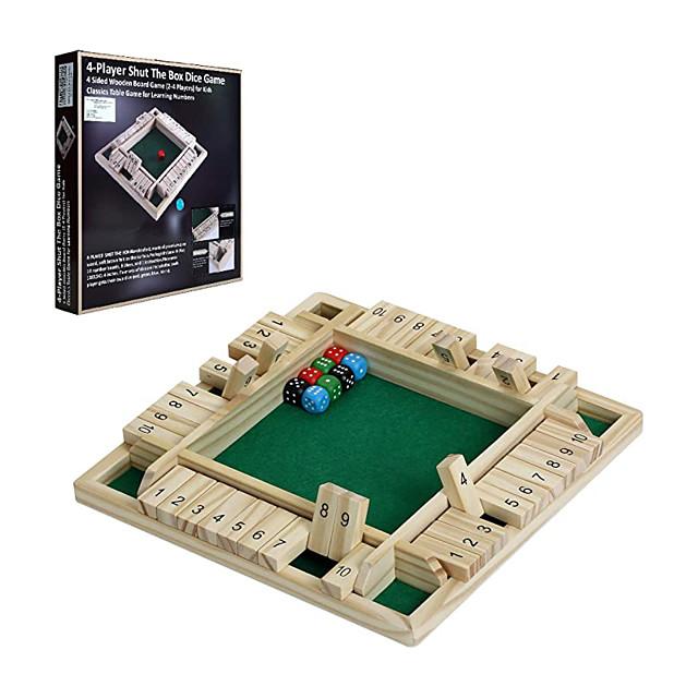 Jeu de dés à 4 joueurs, grande planche de bois à 4 faces, jeu de famille classique sur table pour enfants adultes apprenant l'ajout de mathématiques, jeu amusant pouvant jouer en même temps pour pub,