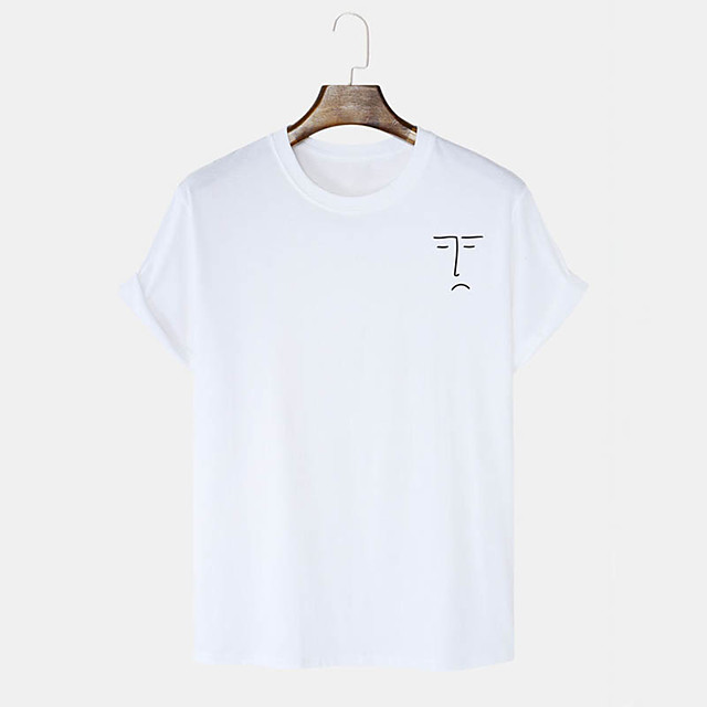 Men's Unisex T shirt Hot Stamping Curve Graphic Prints Plus Size Print Short Sleeve Daily Tops 100% Cotton Basic Casual White Black Blushing Pink