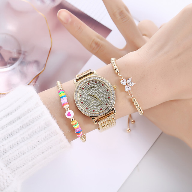 Women's Steel Band Watches Analog Quartz Butterly Style Stylish Minimalist Creative Large Dial