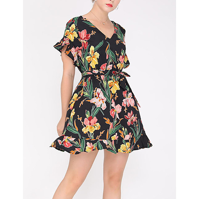 Women's A Line Dress Short Mini Dress Black Short Sleeve Floral Print Solid Color Summer V Neck Casual 2021 S M L XL