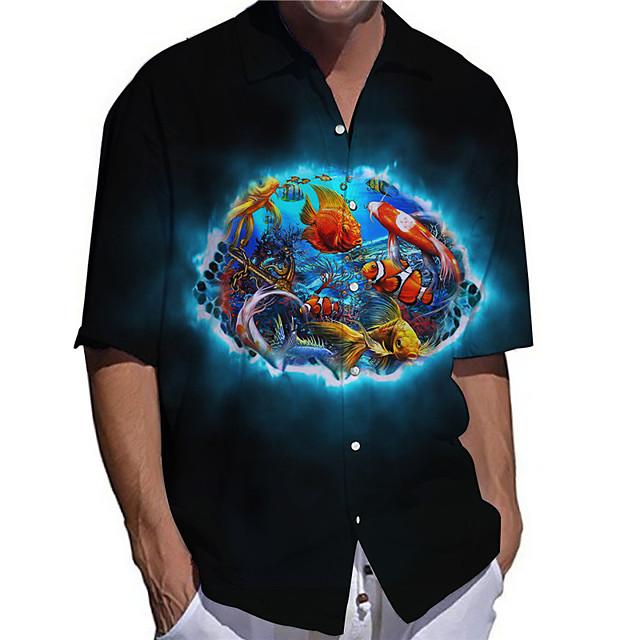 رجالي قميص طباعة ثلاثية الأبعاد مطبوعات غرافيك سمك حيوان زر أسفل طباعة كم قصير مناسب للبس اليومي قمم كاجوال مصمم كبير وطويل القامة أسود