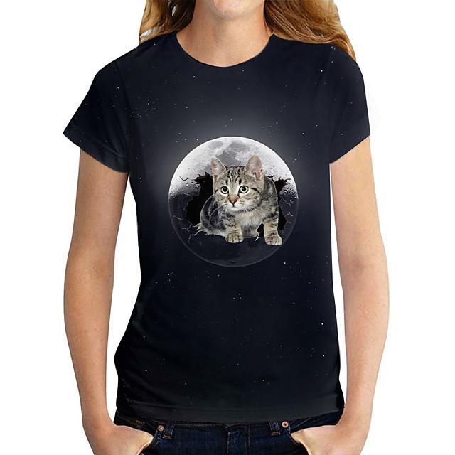 نسائي تي شيرت قطة الرسم 3D طباعة رقبة دائرية قمم أساسي القمة الأساسية أسود