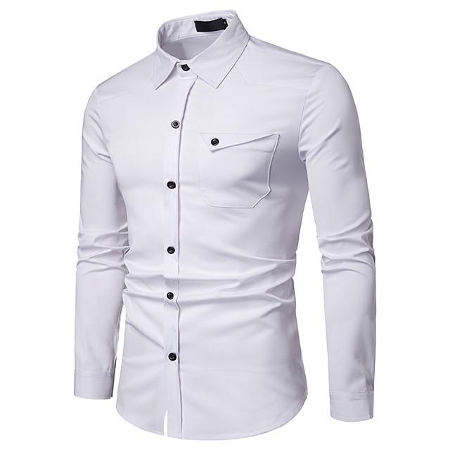 رجالي قميص مطبوعات أخرى لون سادة كم طويل مناسب للبس اليومي قمم بسيط أبيض أسود نبيذ
