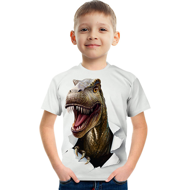 Kids Boys' T shirt Tee Short Sleeve Graphic Animal Children Tops Active White