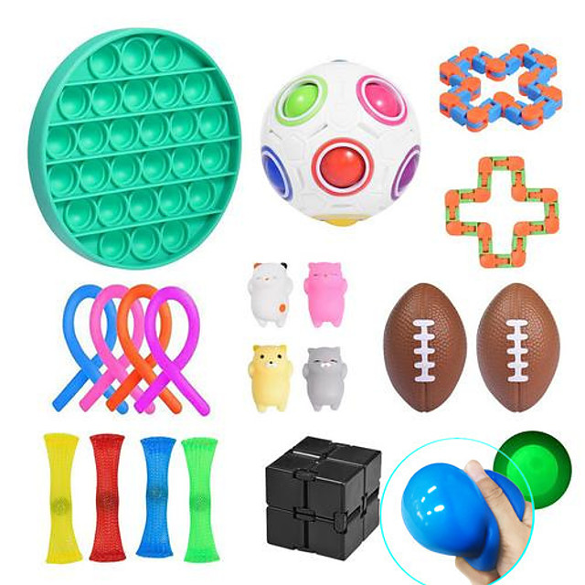 Squishy Toy Throwing Toy Push Pop Bubble Sensory Fidget Toy Stress Reliever 21 pcs Mini Football Rugby Creative Transformable Cute Stress and Anxiety Relief Fun Strange Toys Decompression Toys Funny