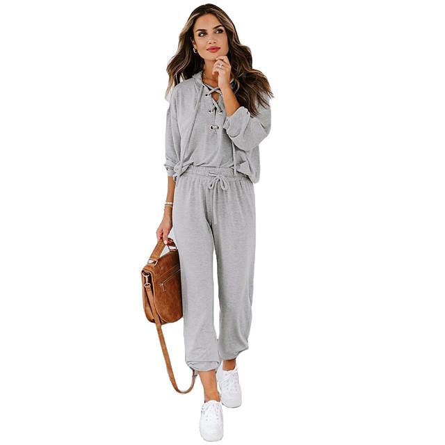 女性用 ベーシック ストリートファッション 平織り 日常 2点セット パーカー&スウェット トラックスーツ パンツ ラウンジウェア ジョガーパンツ リベット レースアップ トップの