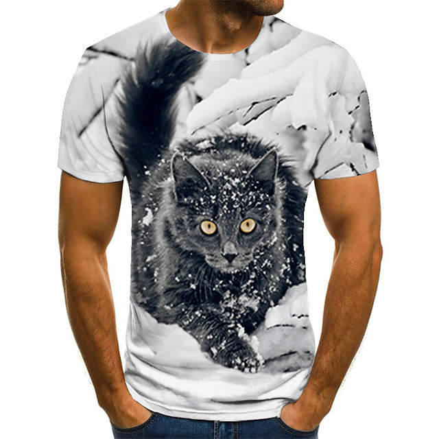 Men's T shirt 3D Print Animal 3D Print Print Short Sleeve Casual Tops Casual Fashion Black / White