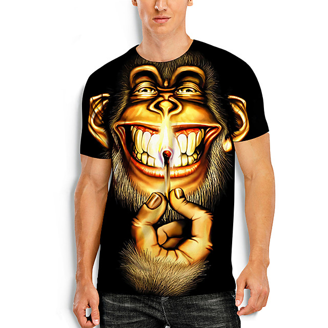 Men's Tees T shirt 3D Print Graphic Prints Monkey Animal Print Short Sleeve Daily Tops Basic Casual Black