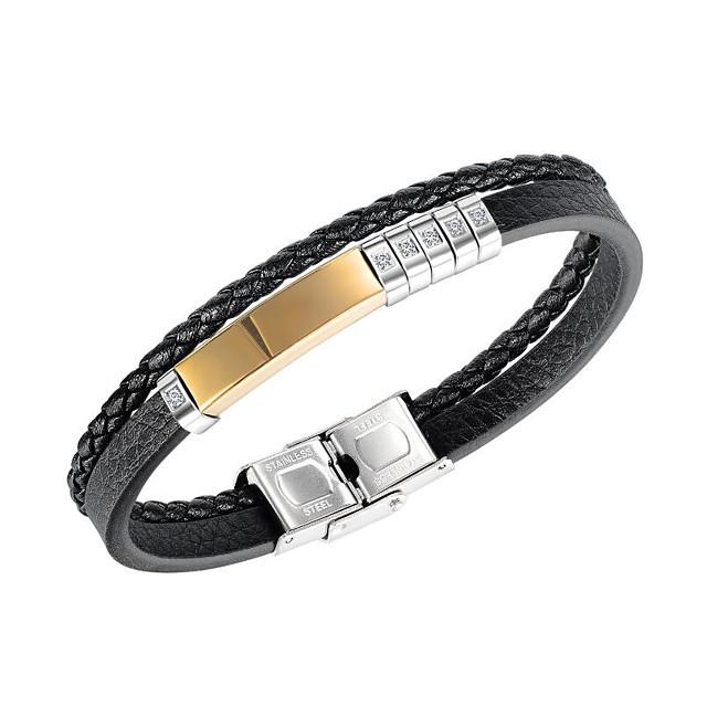 Men's Cubic Zirconia Leather Bracelet Braided Flower Fashion Leather Bracelet Jewelry Black For Party Evening Gift Date Festival / Titanium Steel