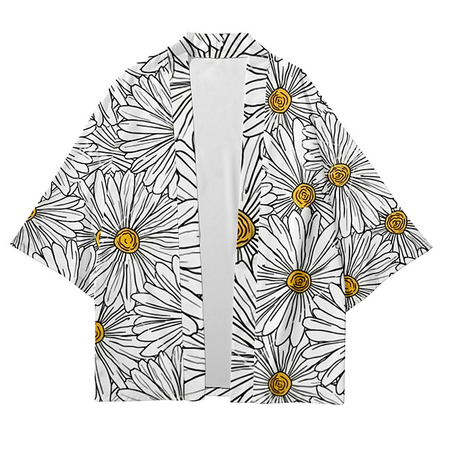 Shirt Men's Floral Daisy 3D Print 3D Print Casual Short Sleeve Tops Casual Fashion Breathable Comfortable Gray