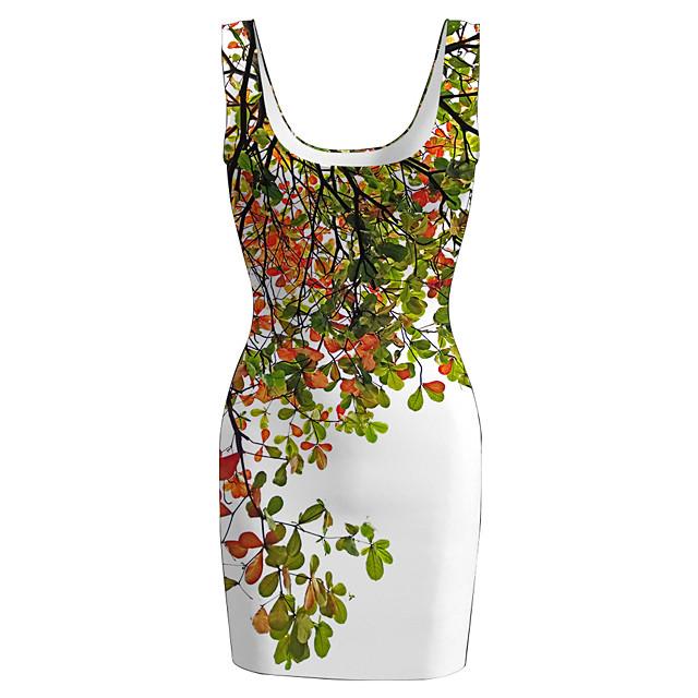 Women's Sports Dress Short Mini Dress Green Sleeveless Floral Print Spring Summer Round Neck Casual 2021 S M L XL XXL 3XL