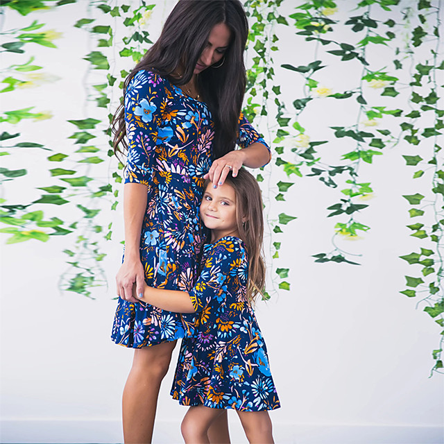 Mommy and Me Family Matching Outfits Dress Graphic Sleeveless Print Blue Maxi Summer