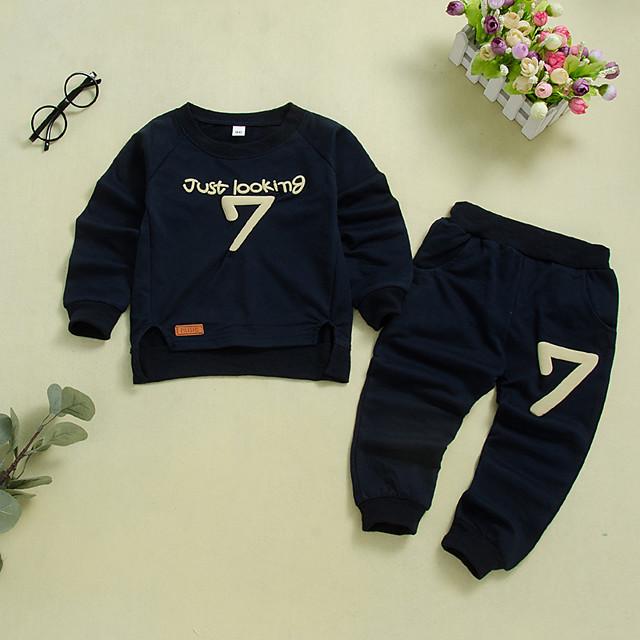 Kids Girls' Clothing Set Letter Long Sleeve Print Navy Blue Active Regular 2-6 Years