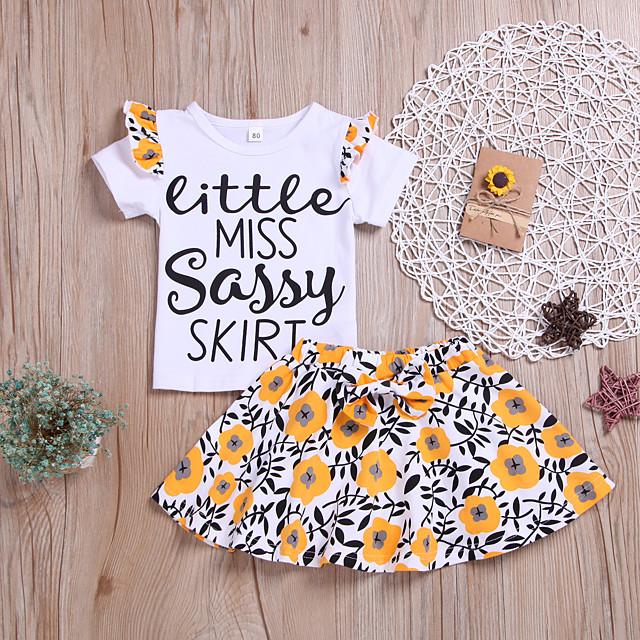 Kids Girls' Clothing Set Letter Short Sleeve Print White Active Regular 2-6 Years