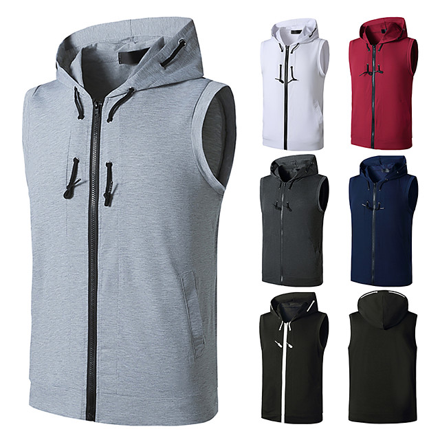 Men's T shirt non-printing Color Block Plus Size Sleeveless Daily Tops White Black Wine
