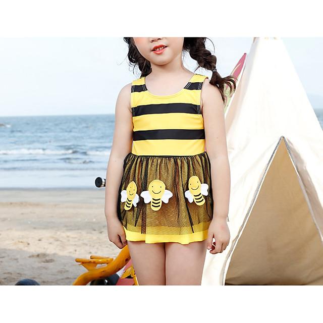 Kids Girls' Swimwear Striped Print Sleeveless Active Yellow 2-12 Years