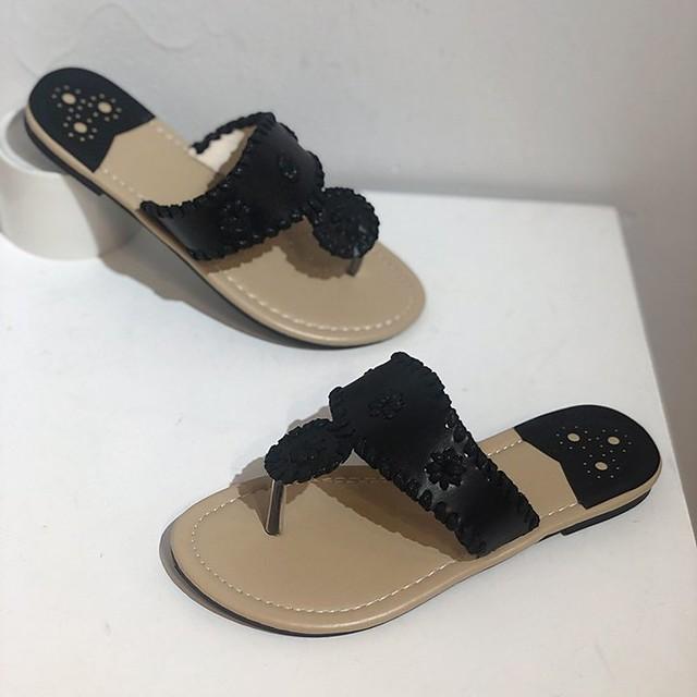 Women's Sandals Boho Bohemia Beach Flat Heel Round Toe PU White Black Blue