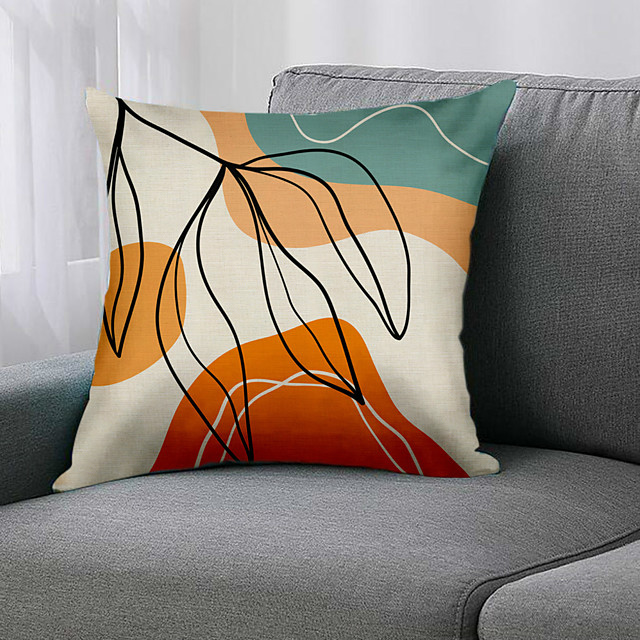 Double Side 1 Pc Leaf Cushion Cover  Print 45x45cm Linen for Sofa Bedroom