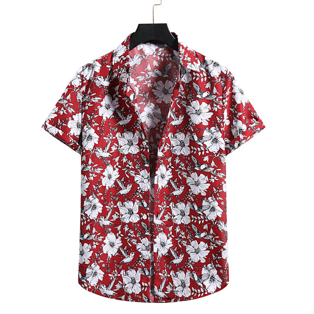 Men's Shirt Other Prints Floral Print Short Sleeve Holiday Tops Tropical Wine Dark Green Navy Blue