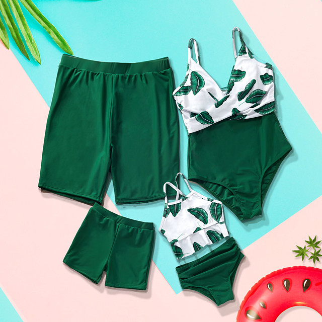 Family Look All Family Matching Outfits Swimwear Blue & White Graphic Print Green Summer