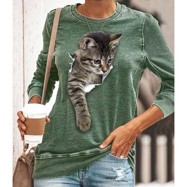 Women's T shirt Graphic Animal Long Sleeve Round Neck Tops Basic Basic Top Black Blue Yellow