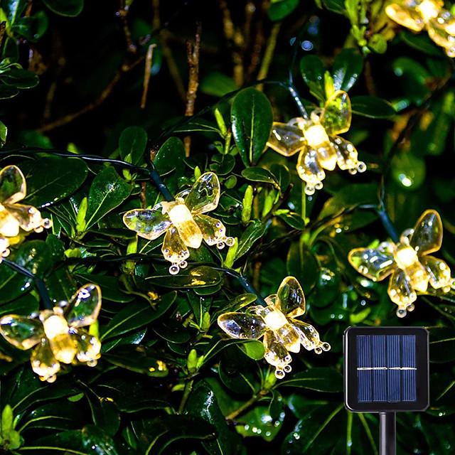 guirlande lumineuse à led solaire 6.5m 30leds papillon extérieur waterpoof blanc chaud blanc coloré 8 mode extérieur étanche fée lumière mariage patio maison de jardin lampe de décoration de vacances