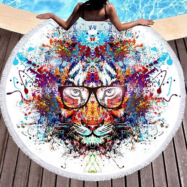 نسائي فوط الشاطئ ملابس السباحة شرابة طباعة ألوان متناوبة أسود أزرق أرجواني أصفر نبيذ ملابس السباحة بدلة سباحة جديد أنيق العطلة
