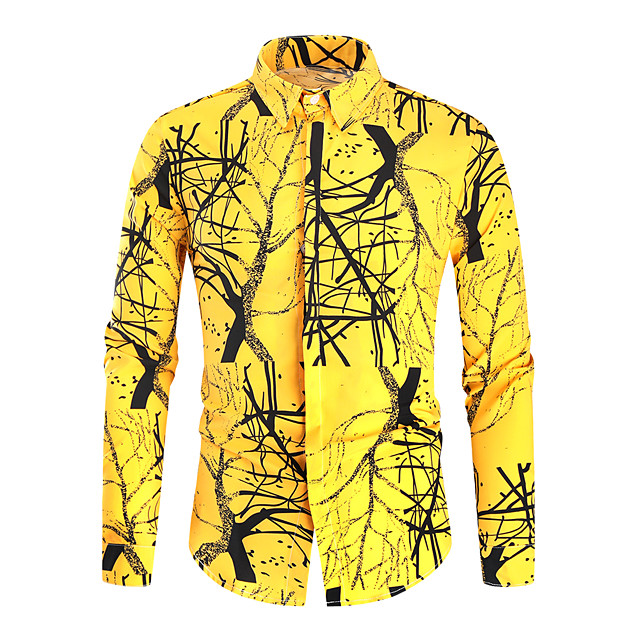 Men's Shirt 3D Print Graphic Long Sleeve Daily Tops Yellow