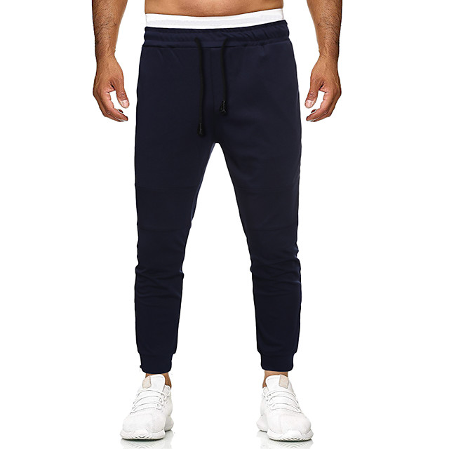 Men's Classic Style Casual / Sporty Outdoor Casual Daily Harem Chinos Pants Plain Full Length Classic Navy Blue