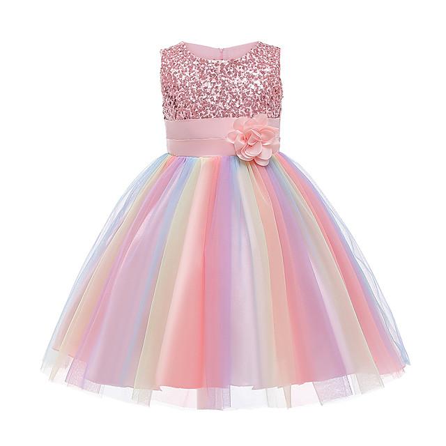bambini bambina vestito arcobaleno fiore partito tutu abiti paillettes fiocco pieghettato blu viola arrossire rosa al ginocchio senza maniche abiti carini 2-12 anni