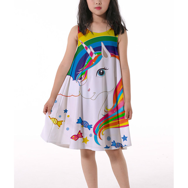 Kids Little Girls' Dress Horse Rainbow Graphic Ruched Print Rainbow Knee-length Sleeveless 3D Print Cute Dresses Loose 4-13 Years