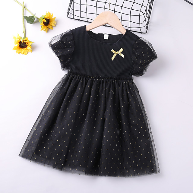 Kids Toddler Little Girls' Dress Black Solid Colored Causal Layered Mesh Bow Black Above Knee Short Sleeve Regular Basic Cute Dresses Children's Day Summer Regular Fit 3-8 Years