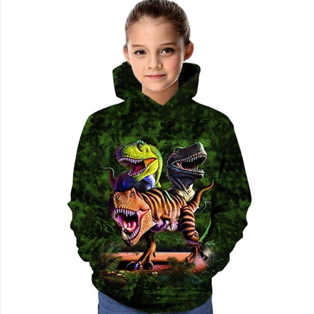 أطفال للفتيات كنزة بقبعة كم طويل ديناصور حيوان طباعة أطفال كل الفصول قمم نشيط عادي أخضر داكن 4-12 سنة
