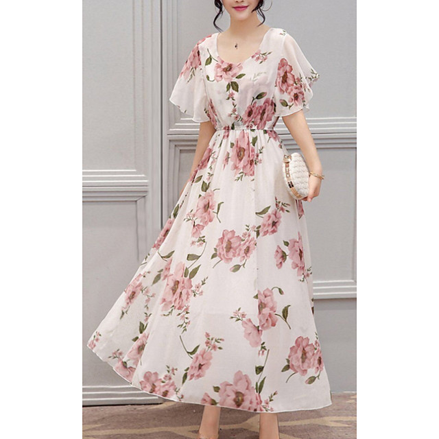 Women's A Line Dress Midi Dress White Short Sleeve Floral Solid Color Print Spring Summer Round Neck Casual 2021 S M L XL XXL 3XL